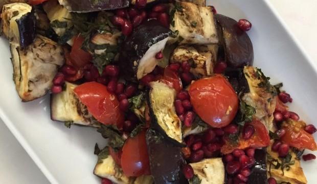 Lebanese style aubergine & pomegranate salad featured image