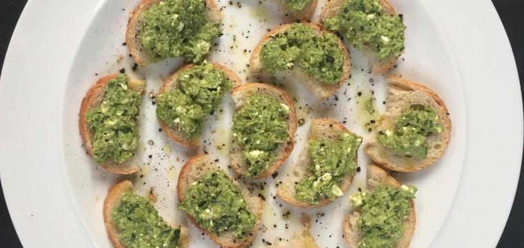 Pea mint feta toasts featured image