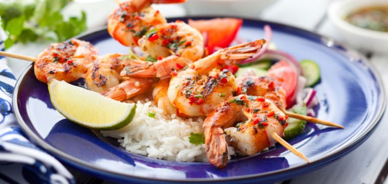 Spicy king prawn skewers featured image