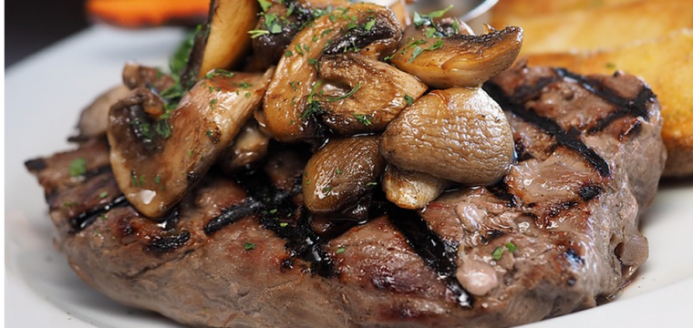 Steak with Balsamic Sweet Potatoes and Portobello Mushrooms featured image