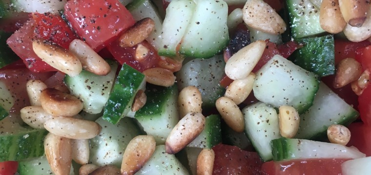 SIMPLE CUCUMBER AND TOMATO SALAD featured image