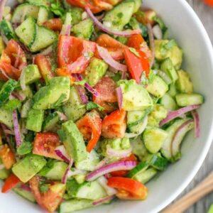 Cucumber & Tomato salad with avocado