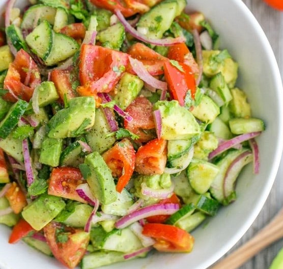 Cucumber & Tomato salad with avocado featured image