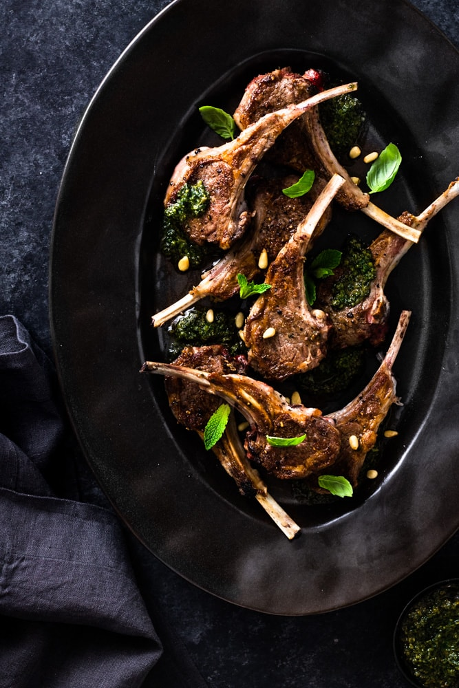 Baby lamb chops with mint pesto featured image