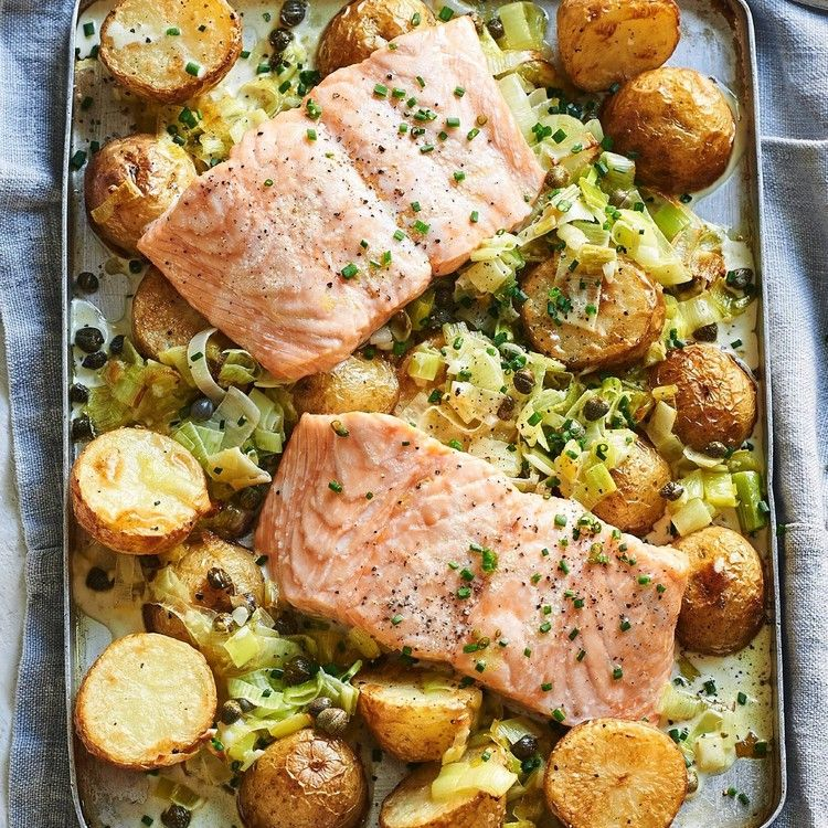 Creamy salmon leek and potato bake featured image