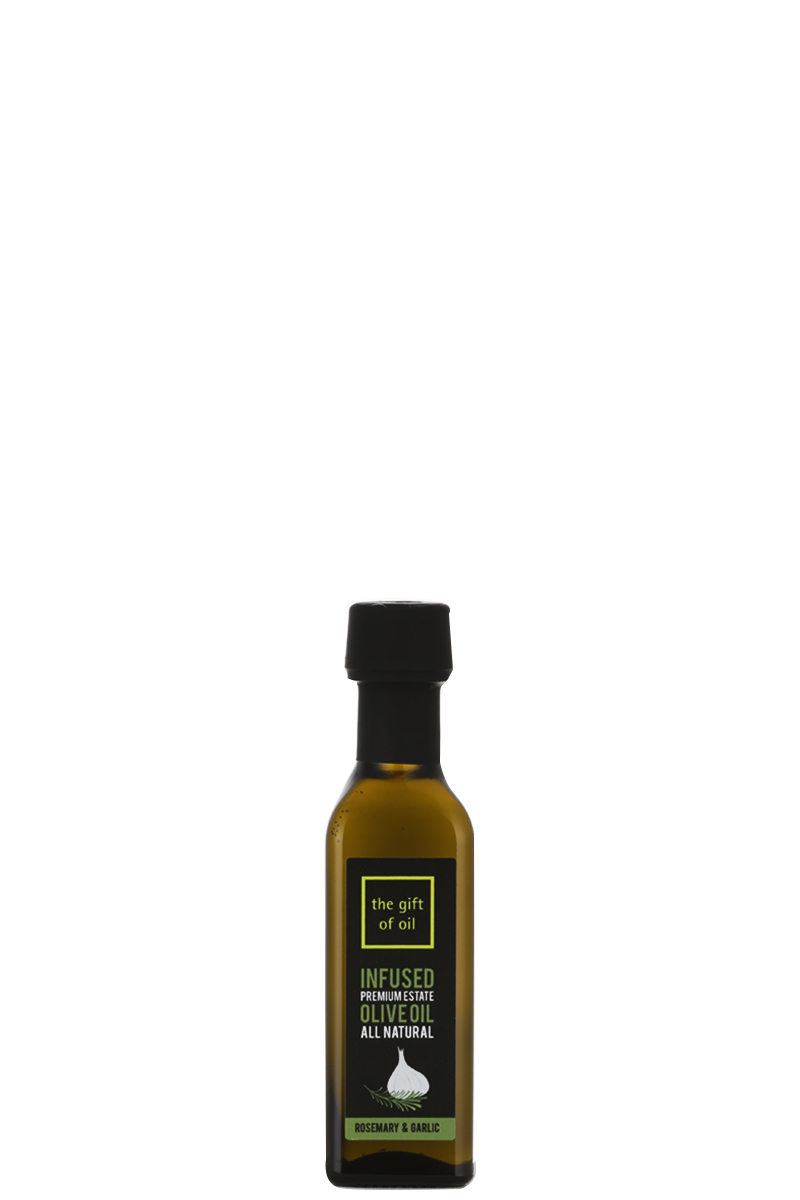 A small bottle of Rosemary and Garlic Infused Olive Oil