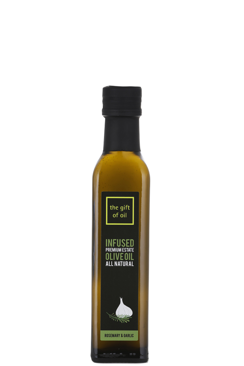 A regular bottle of Rosemary and Garlic Infused Olive Oil