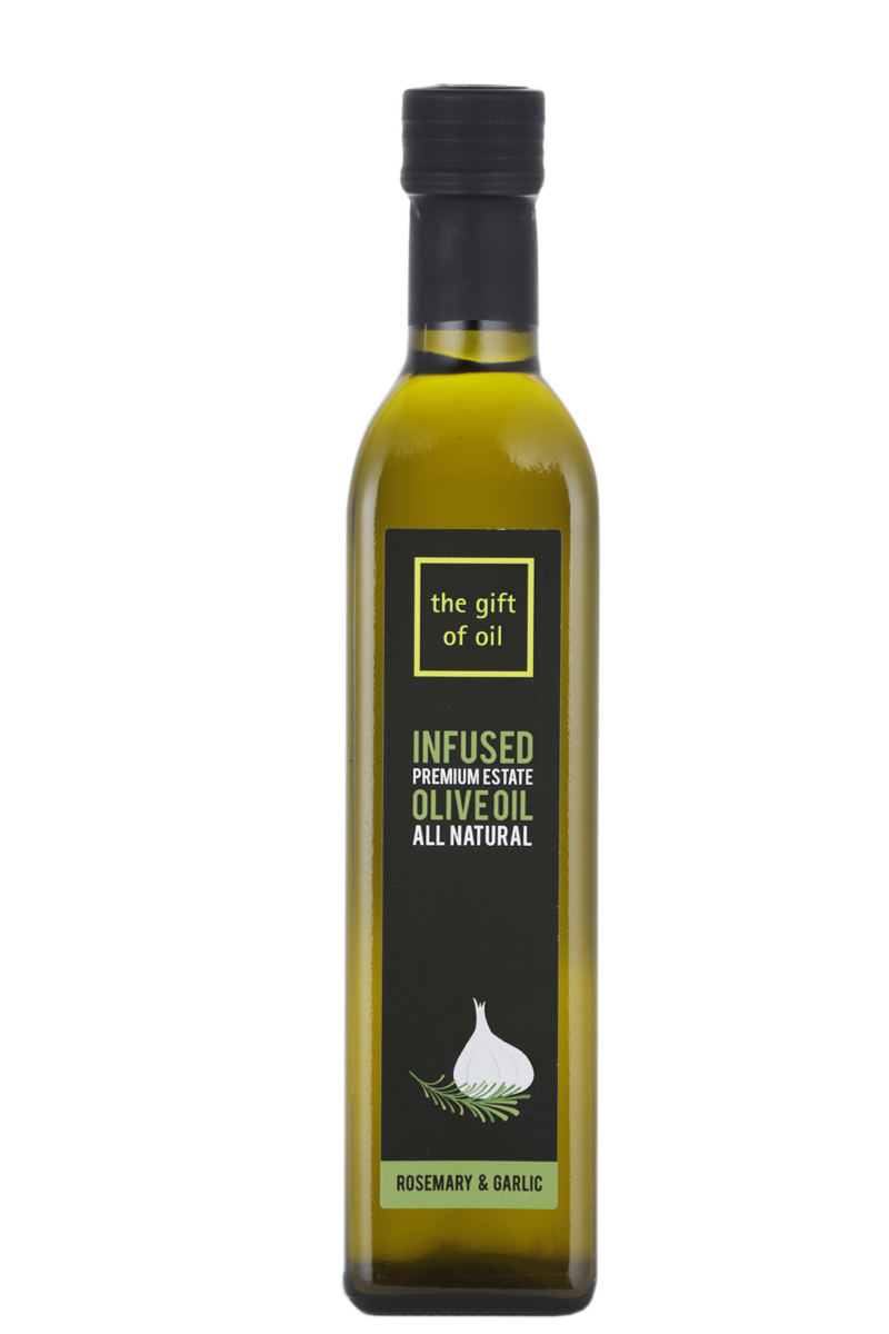 A large bottle of Rosemary and Garlic Infused Olive Oil