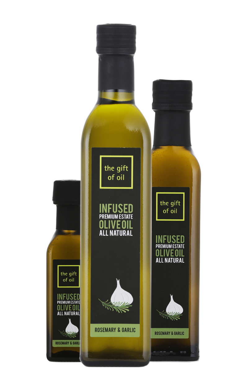Selection of 3 bottles of Rosemary and Garlic Infused Olive Oil
